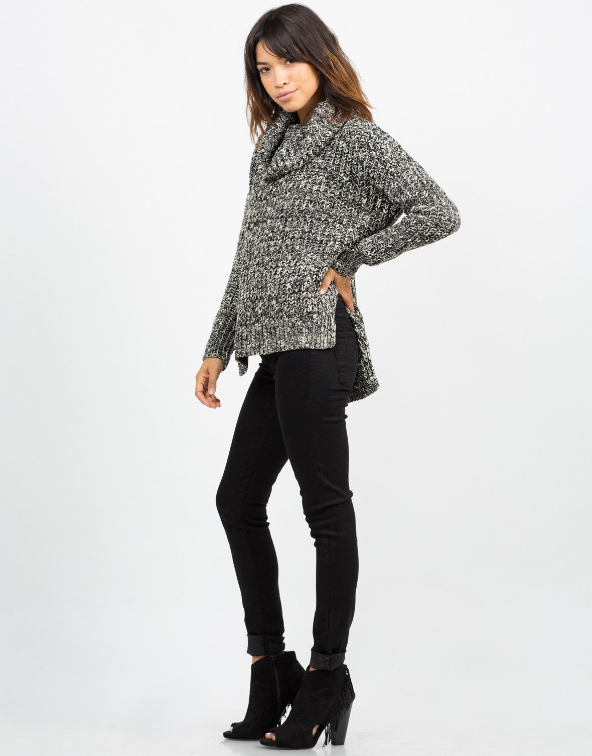 Side View of Thick Mixed Knit Sweater