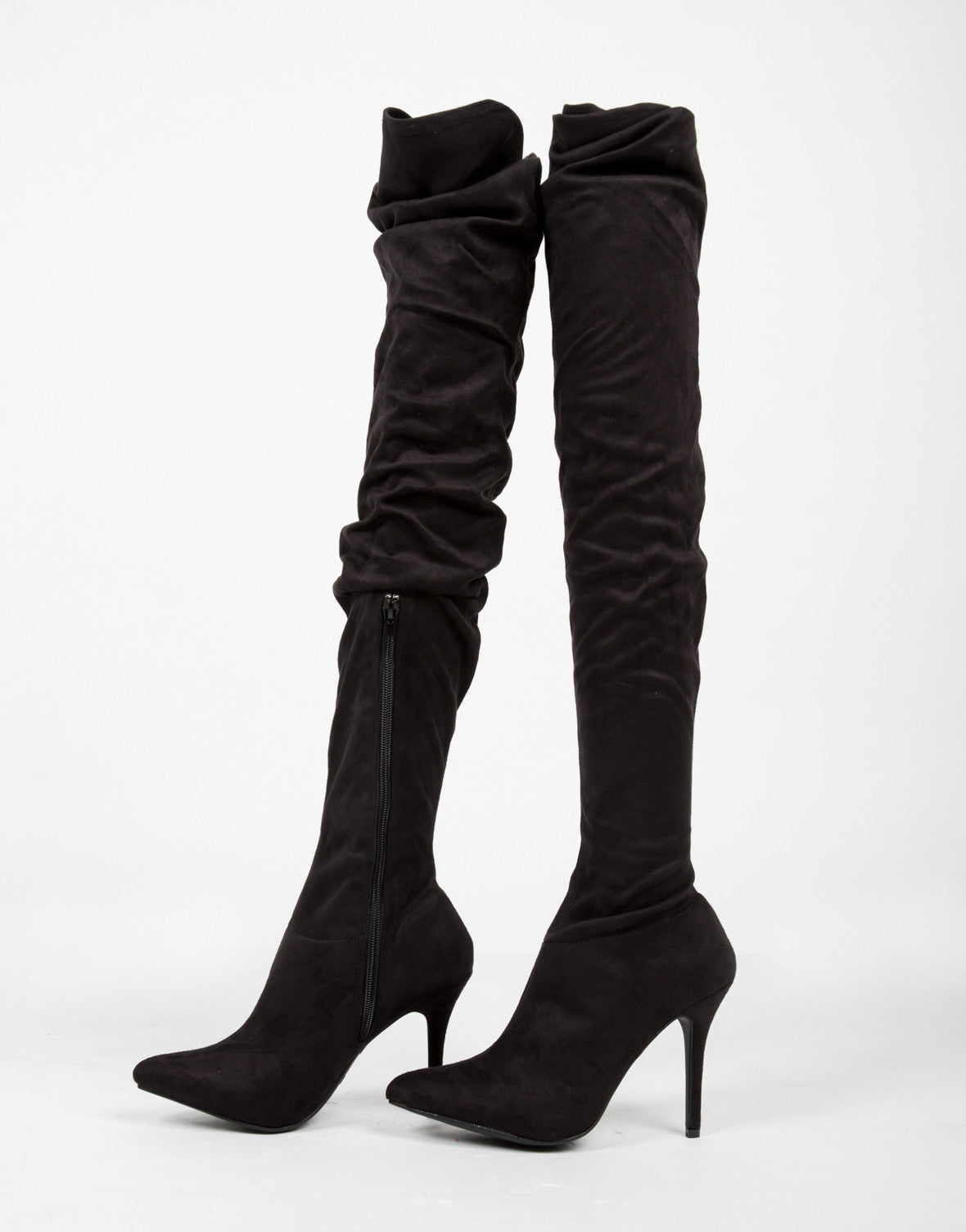 Thigh High Suede Heel Boots - 2020AVE