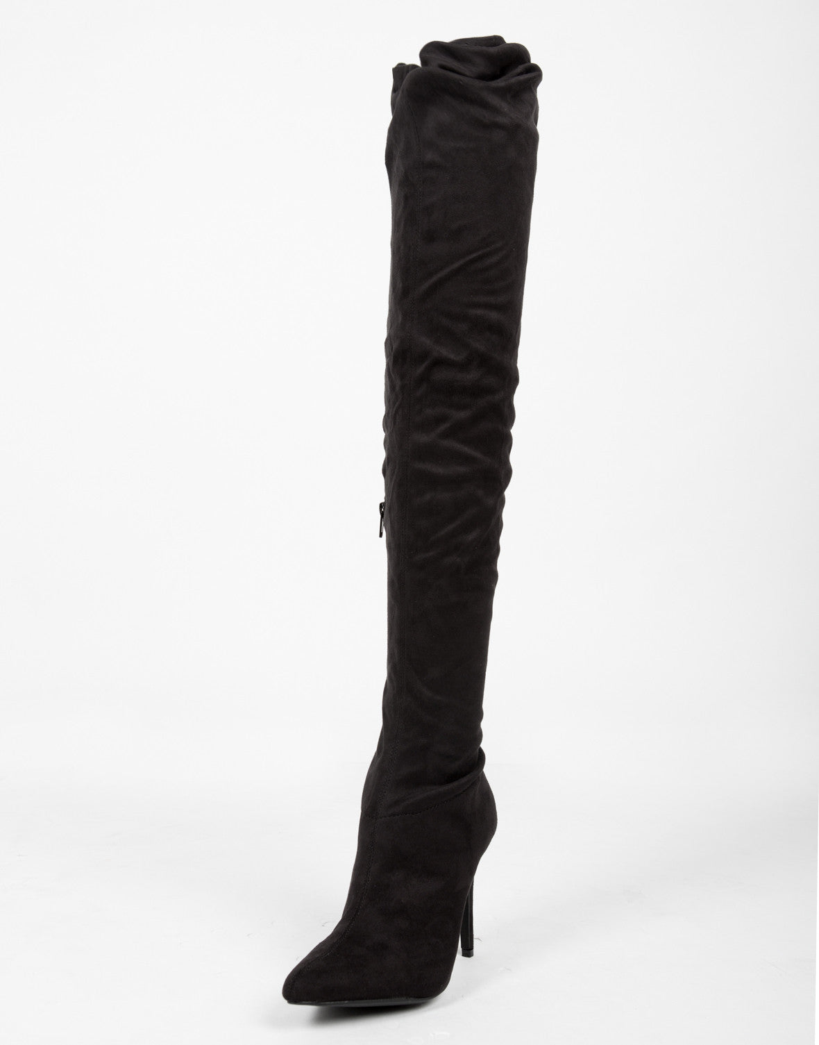 Thigh High Suede Heel Boots