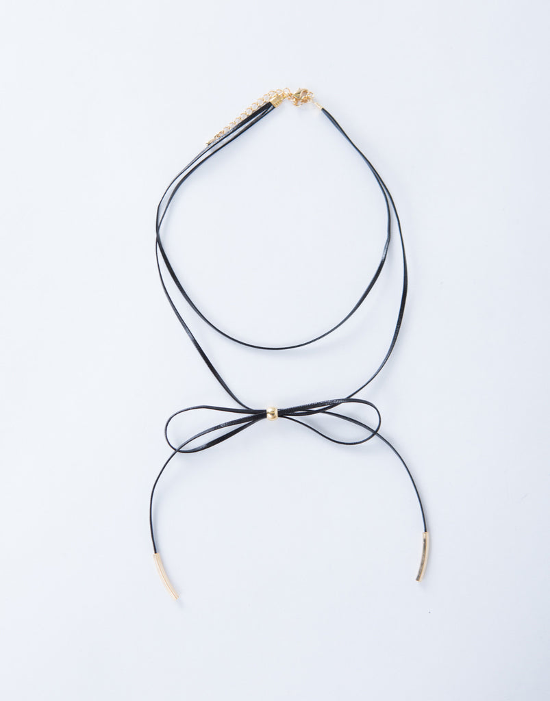 Thin Bow Choker Necklace