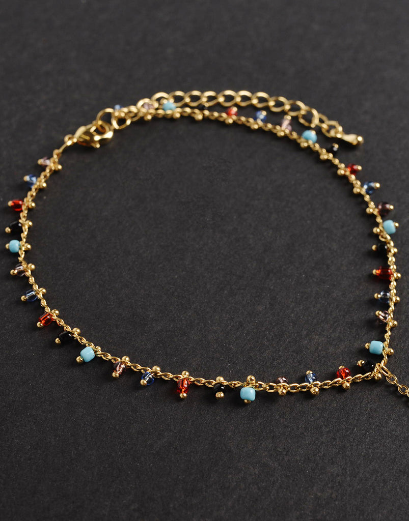 Thin Multi Beaded Anklet Chain Jewelry Gold One Size -2020AVE