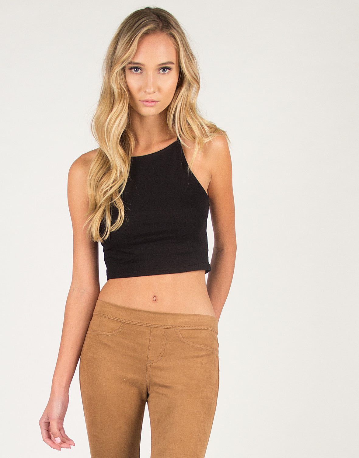Thin Strap Basic Crop Tank - Black