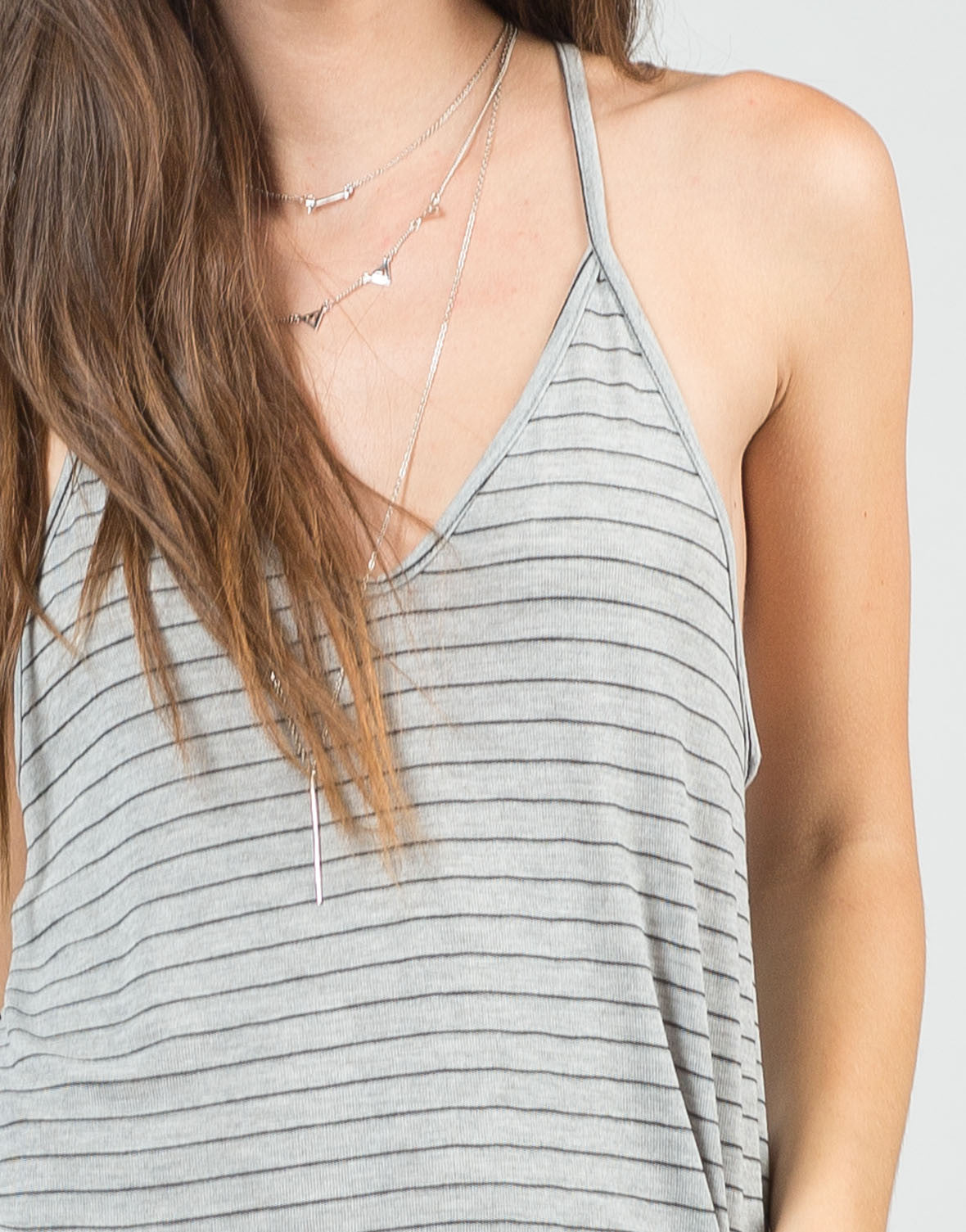 Detail of Thin Striped Racerback Tank