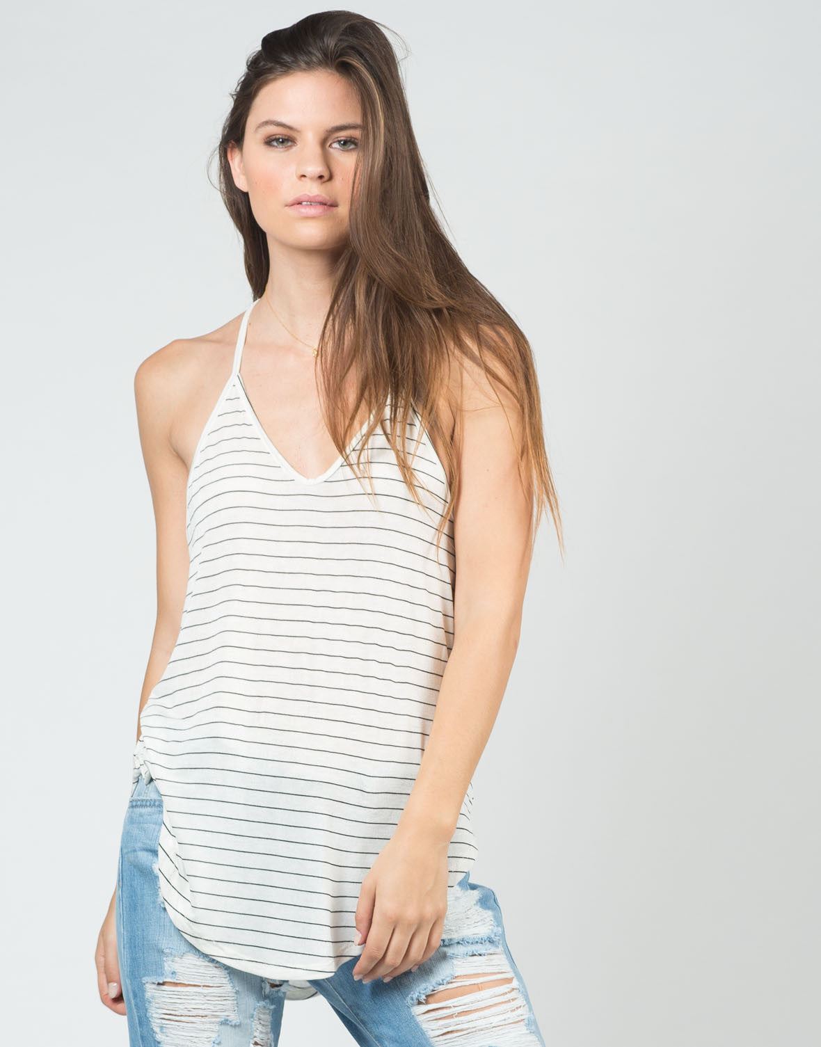 Front View of Thin Striped Racerback Tank