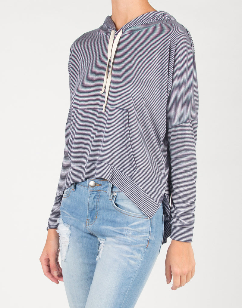 Thin Striped Side Slit Hooded Sweater Top