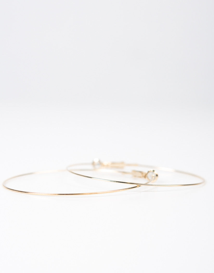 Detail of Thin Wired Hoop Earrings