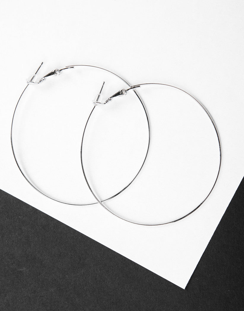 Front View of Thin Wired Hoop Earrings