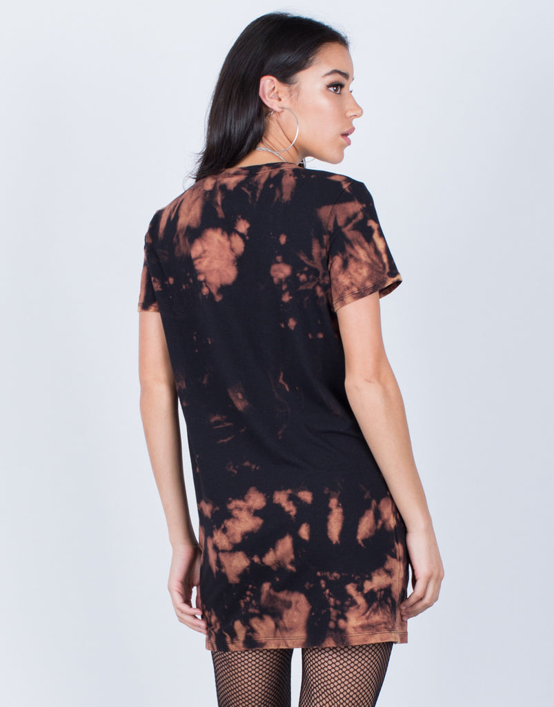 Back View of Tie-Dye Graphic Tee Dress