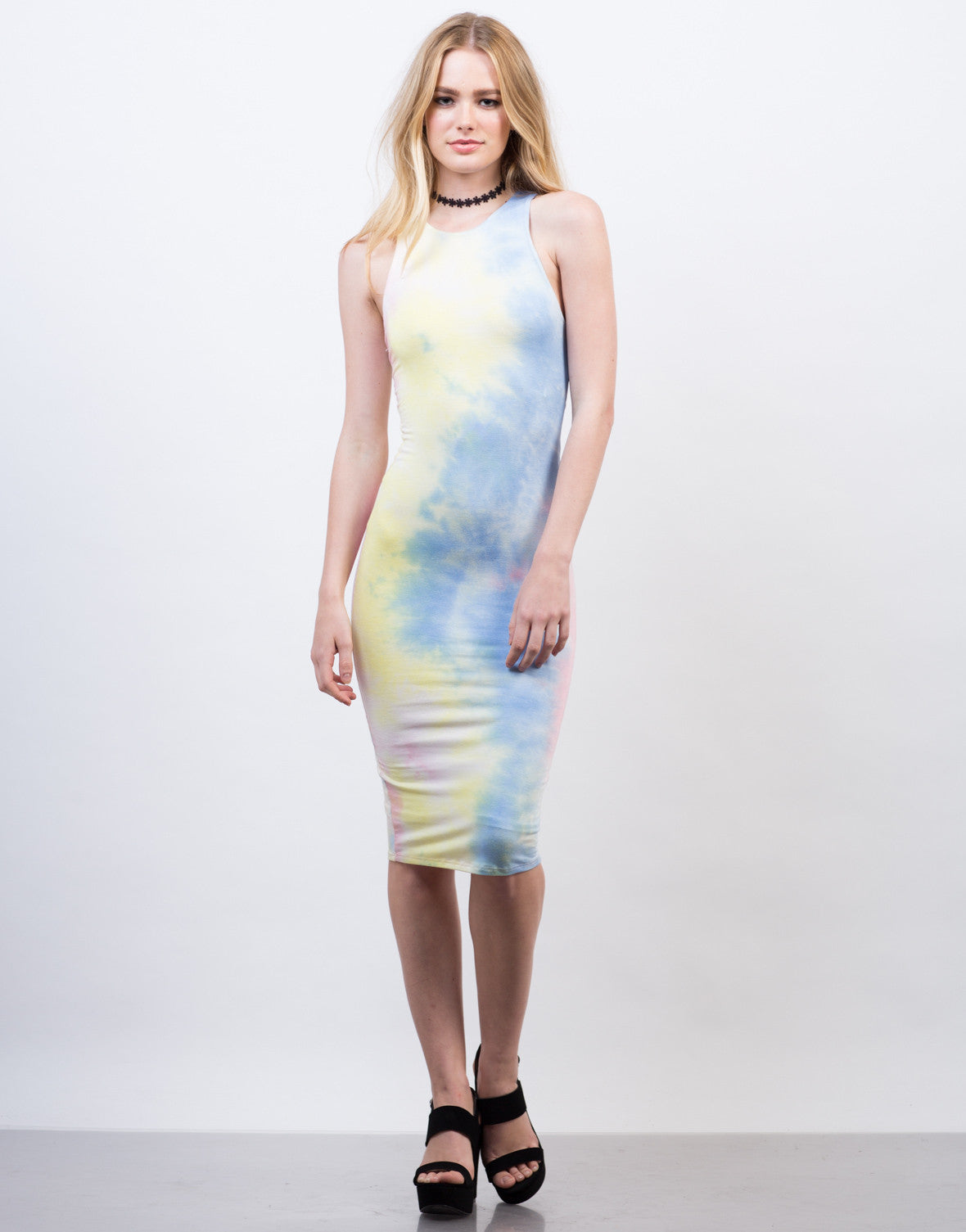 Front View of Tie-Dye High Neck Midi Dress