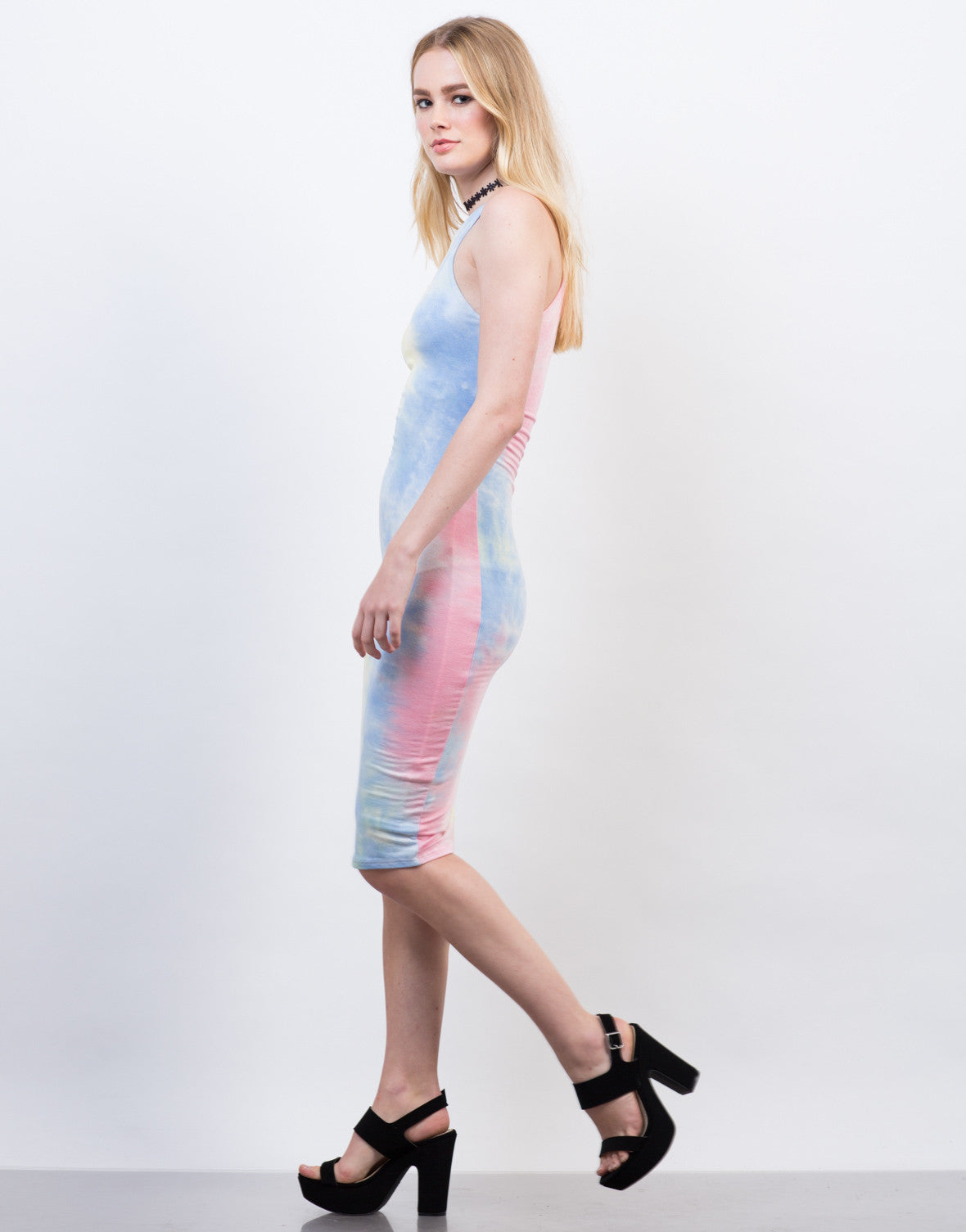 Side View of Tie-Dye High Neck Midi Dress