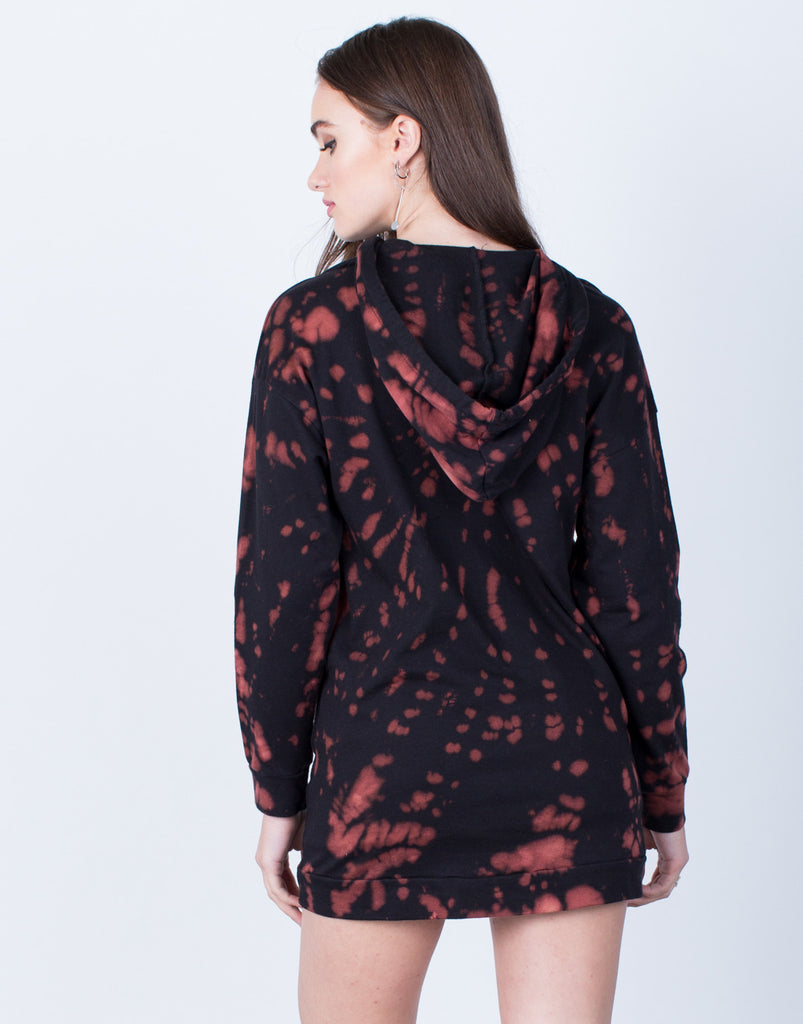 Back View of Tie-Dye Hoodie Tunic
