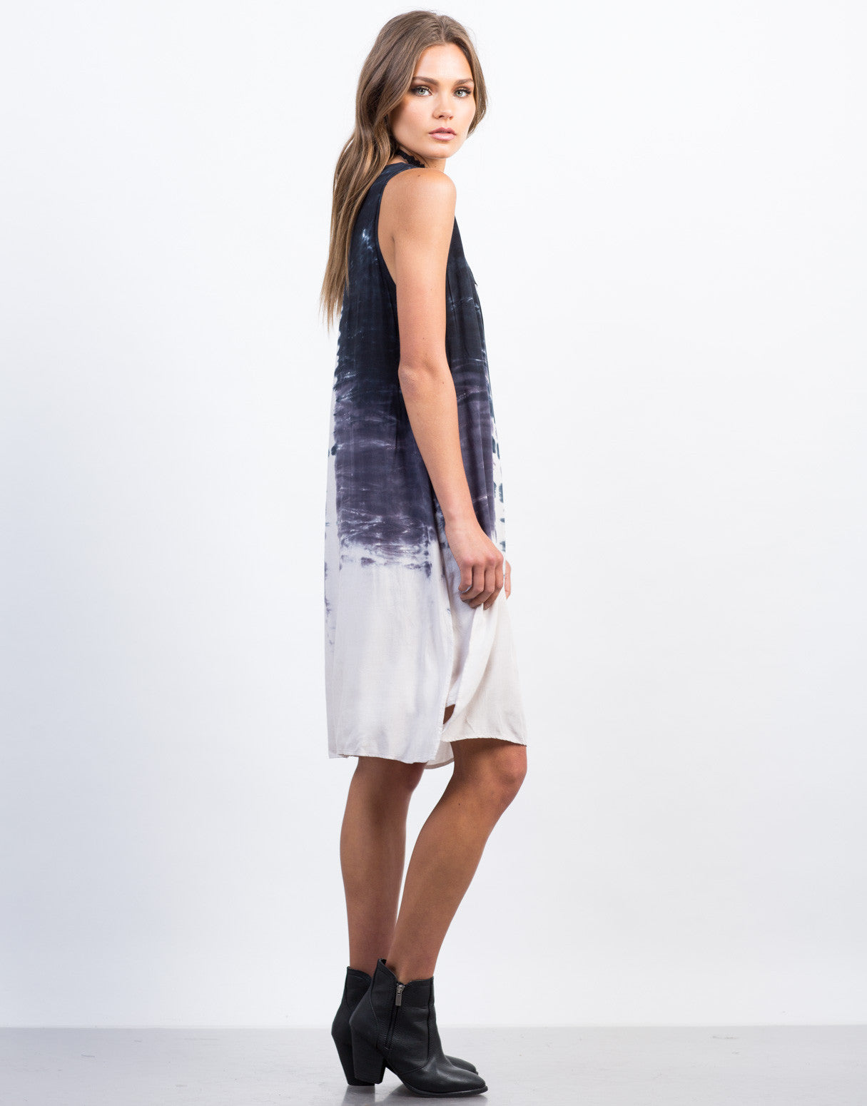 Side View of Tie-Dye Shift Dress