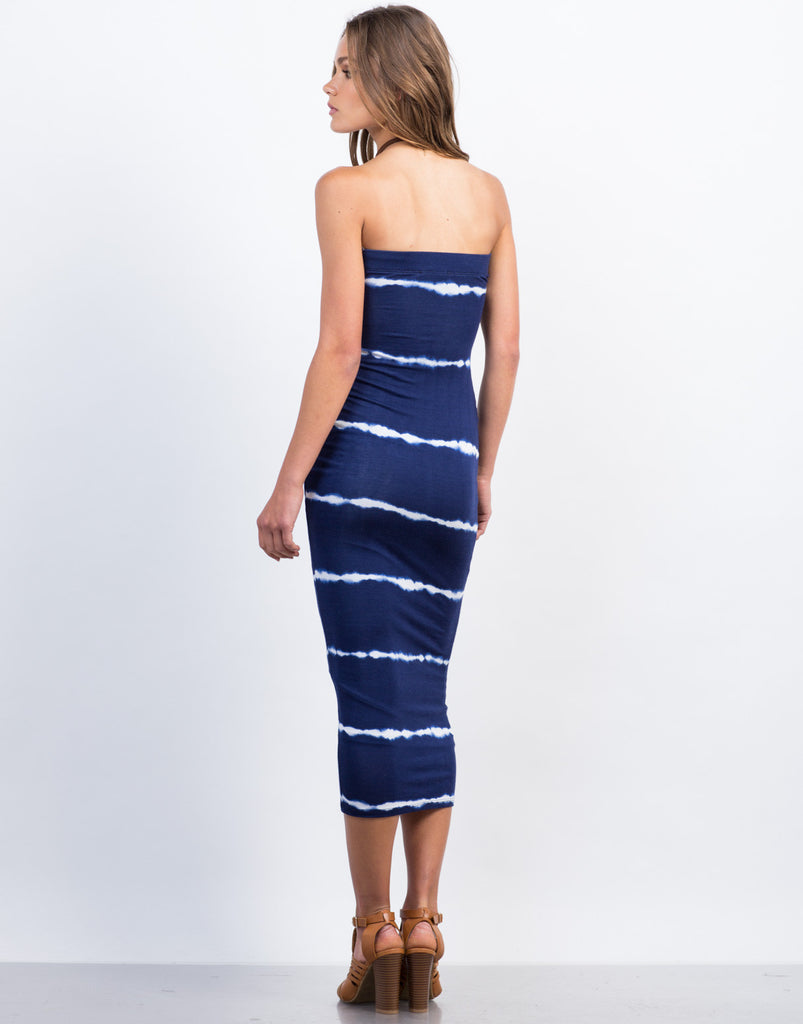 Back View of Tie-Dye Strapless Midi Dress