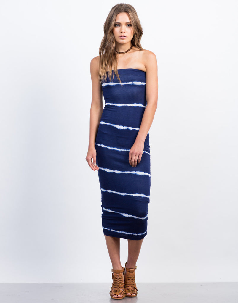 Front View of Tie-Dye Strapless Midi Dress