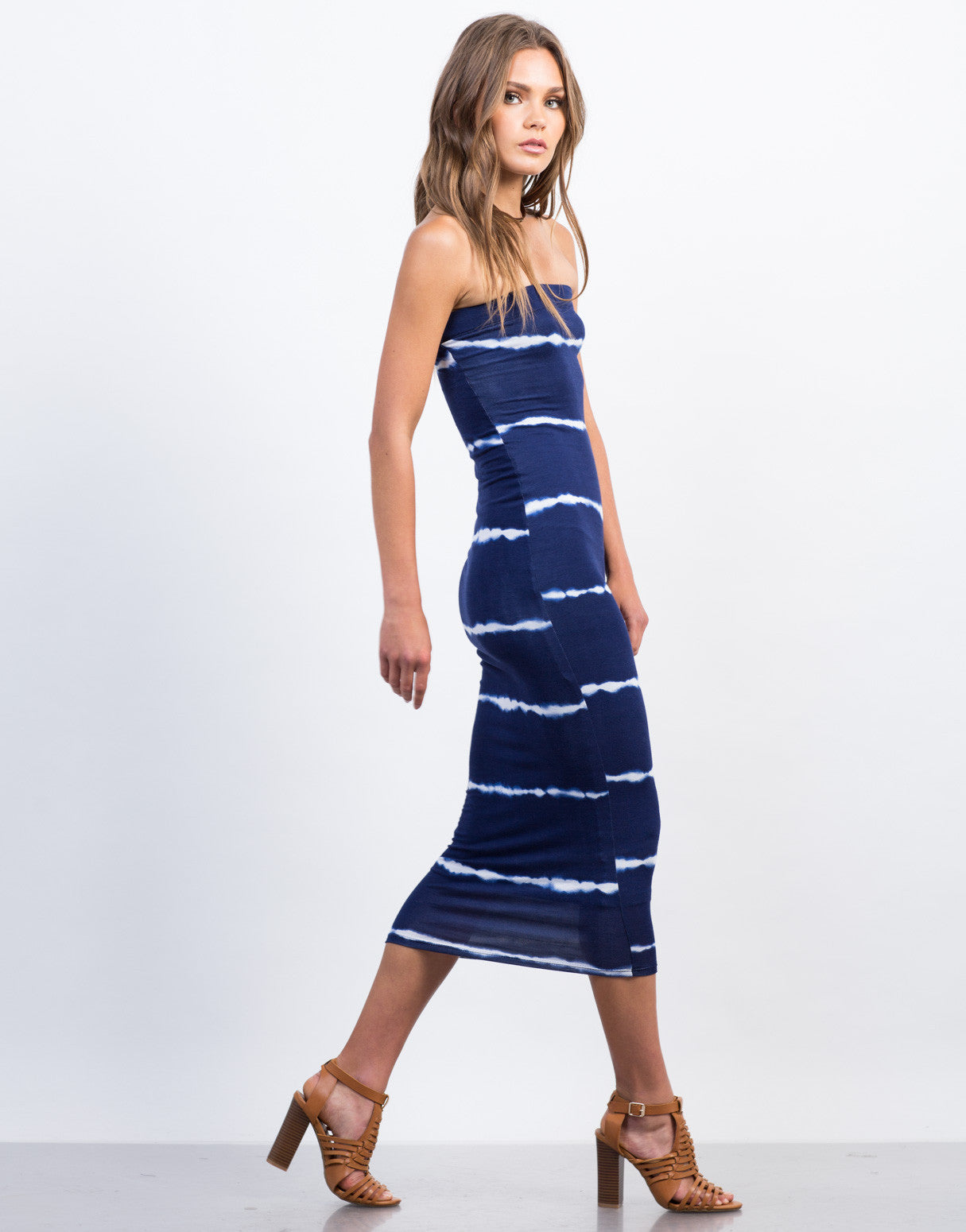 Side View of Tie-Dye Strapless Midi Dress