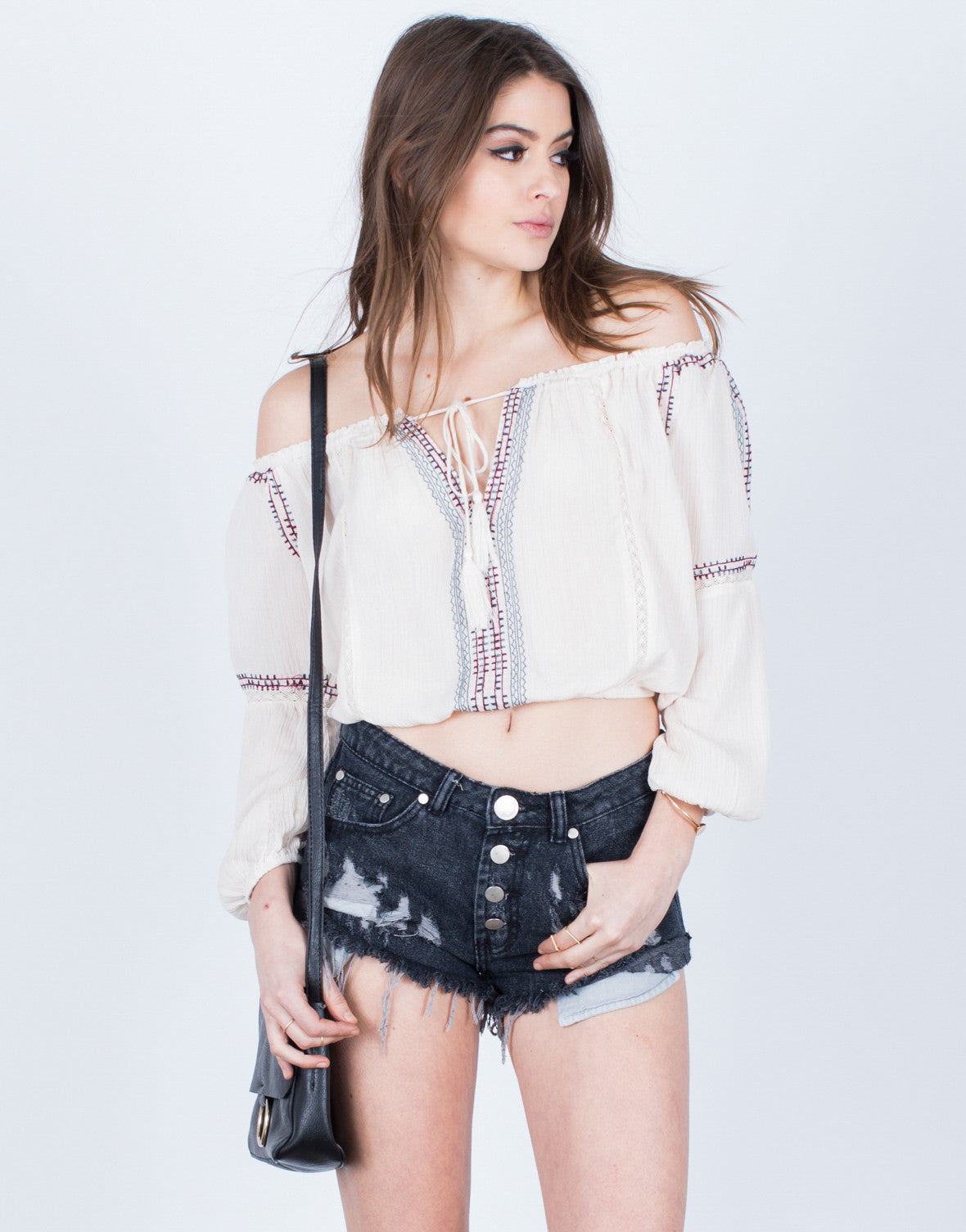 Front View of Tie Me Up Boho Blouse