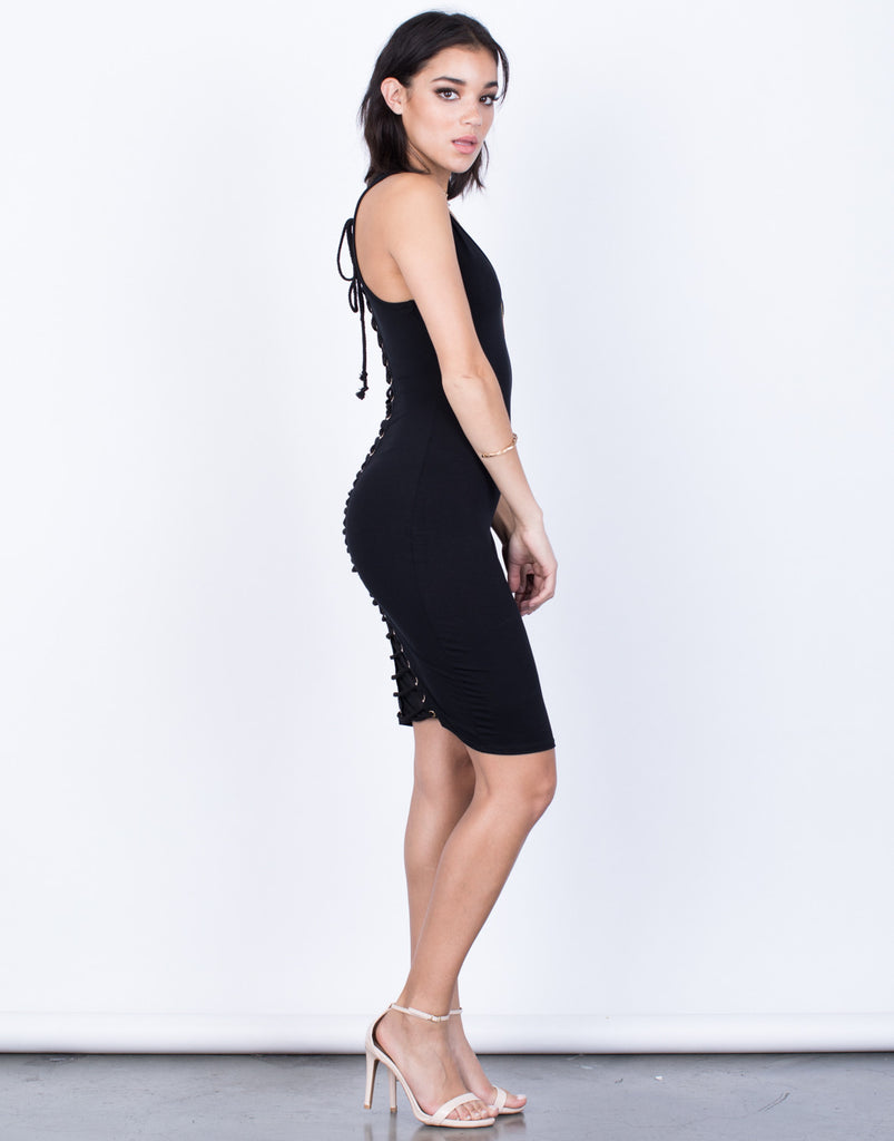 Side View of Tie the Back Party Dress