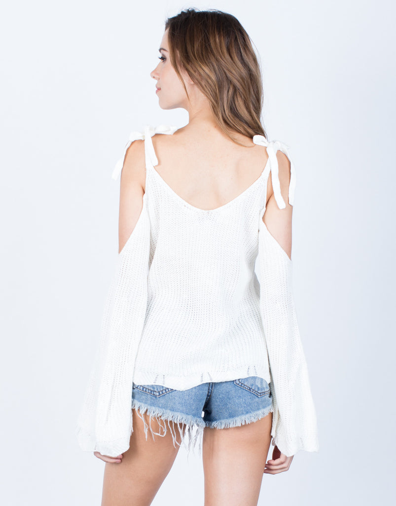 Back View of Tie the Shoulder Top