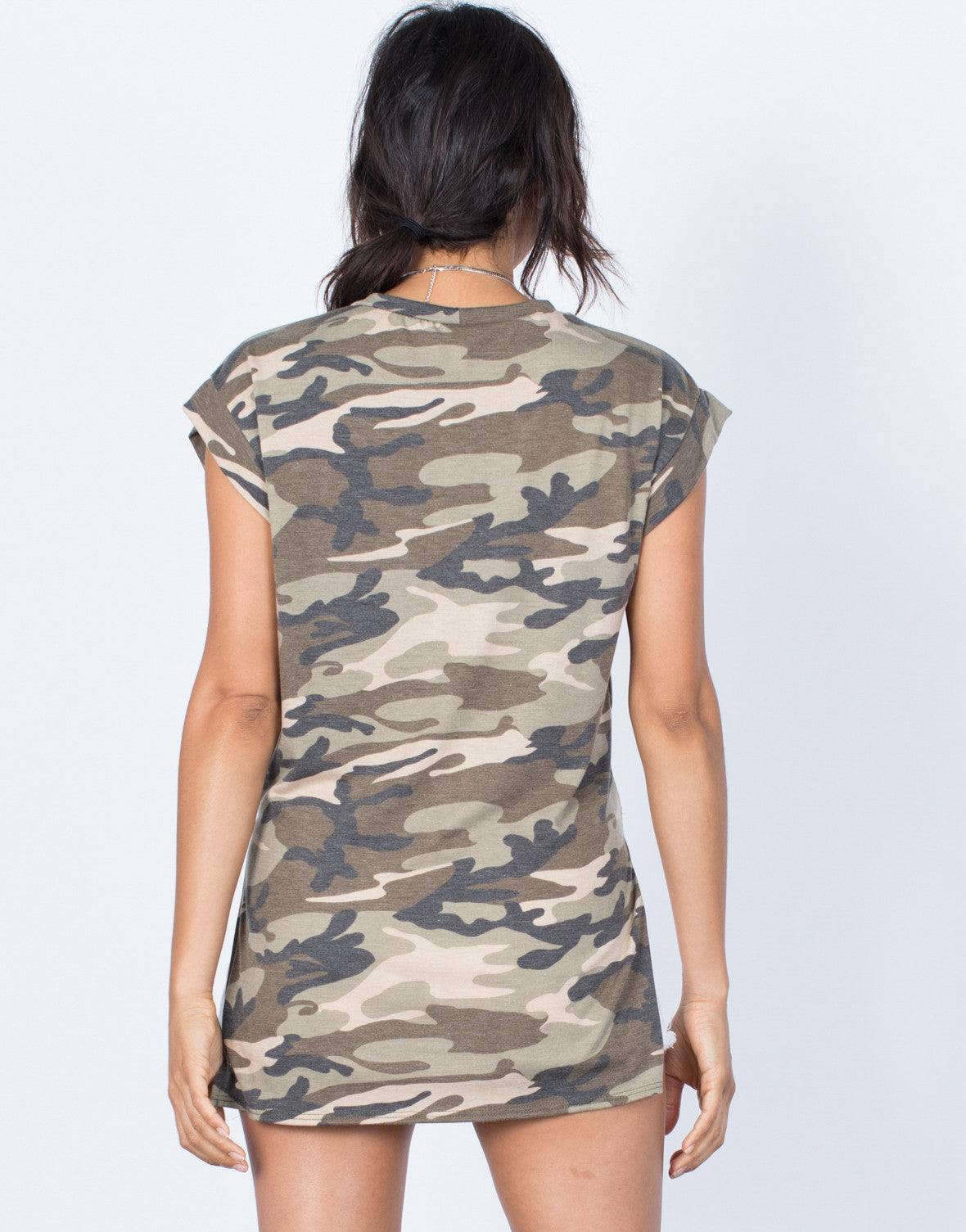 Back View of Tied in Camo Top
