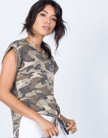 Detail of Tied in Camo Top
