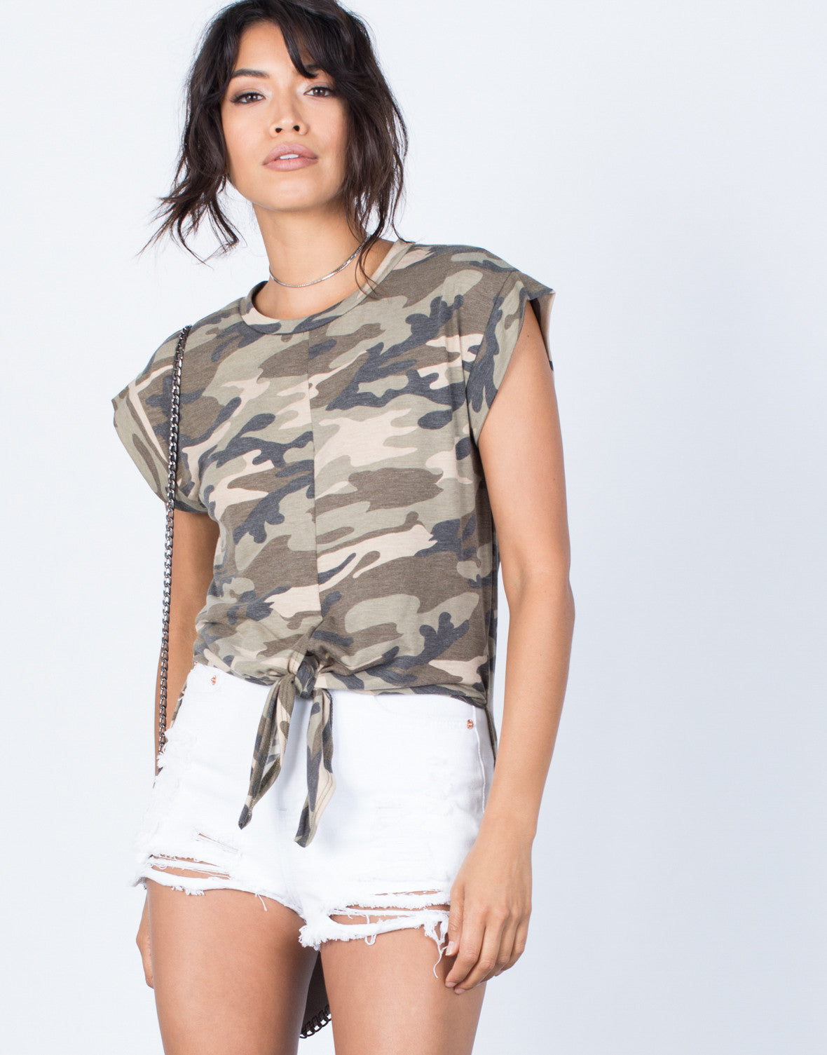 Front View of Tied in Camo Top