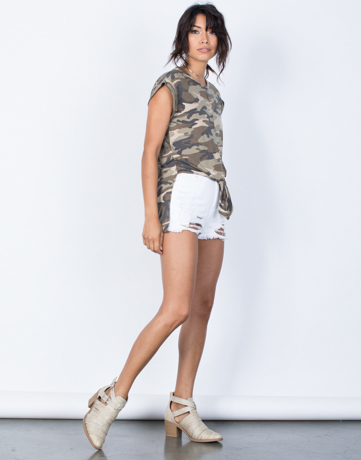 Side View of Tied in Camo Top
