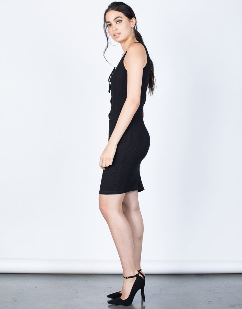 Side View of Tied in Knit Dress