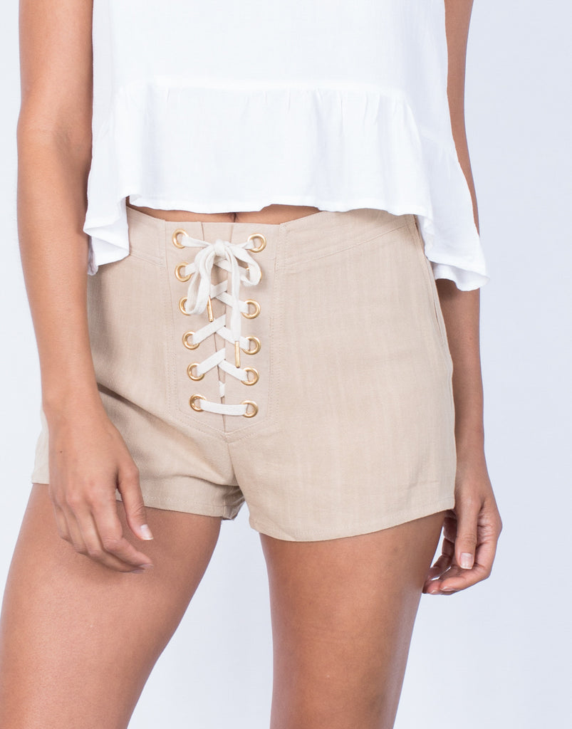 Detail of Tied in Linen Shorts
