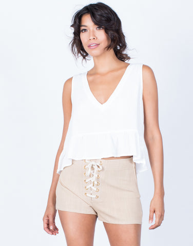 Front View of Tied in Linen Shorts