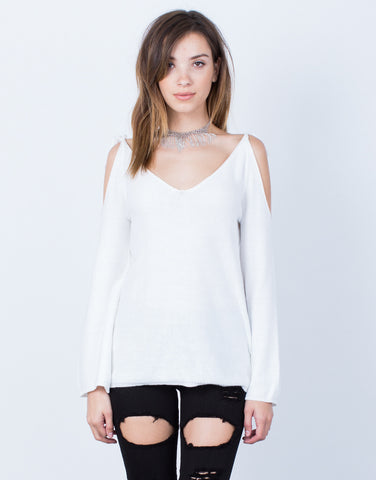 Front View of Tied Shoulder Sweater Top