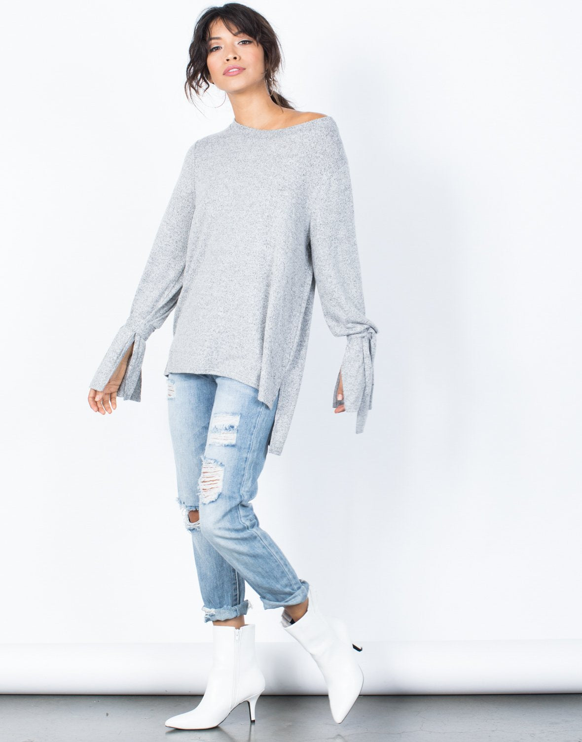 Tied Sleeves Comfy Sweater
