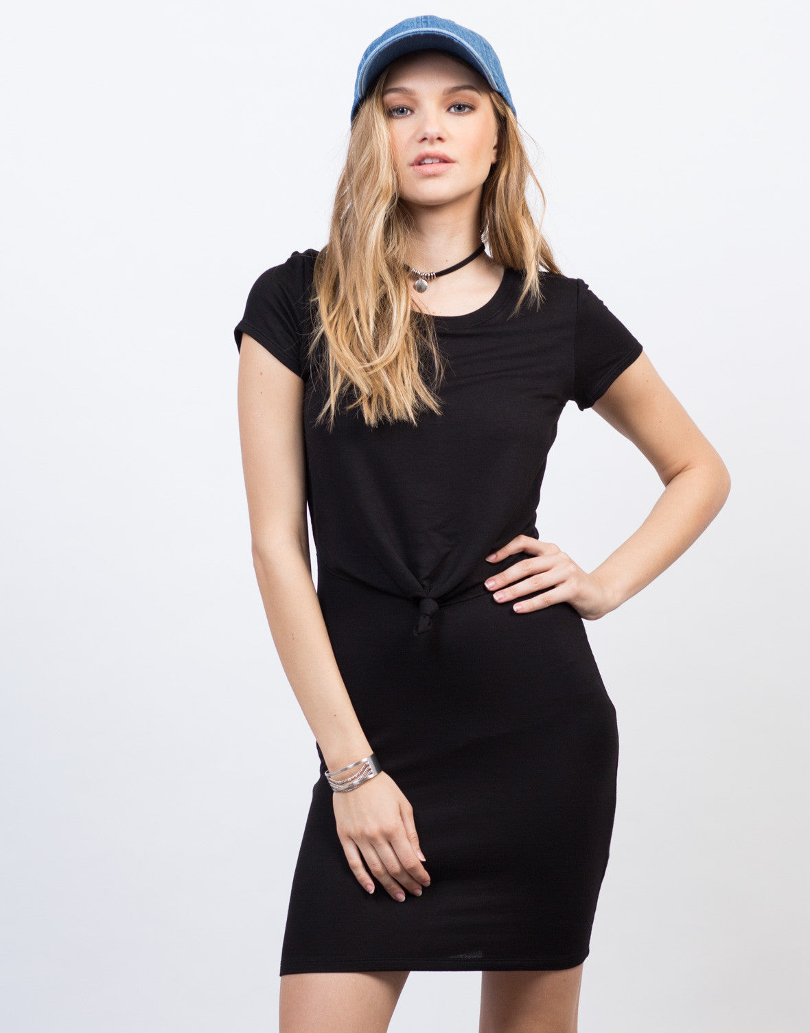 Front View of Tied Tee Dress
