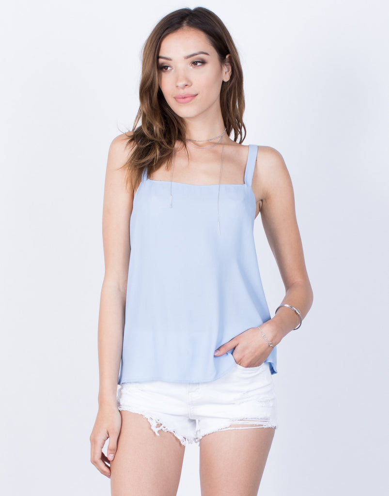 Front View of Tied Together Chiffon Tank
