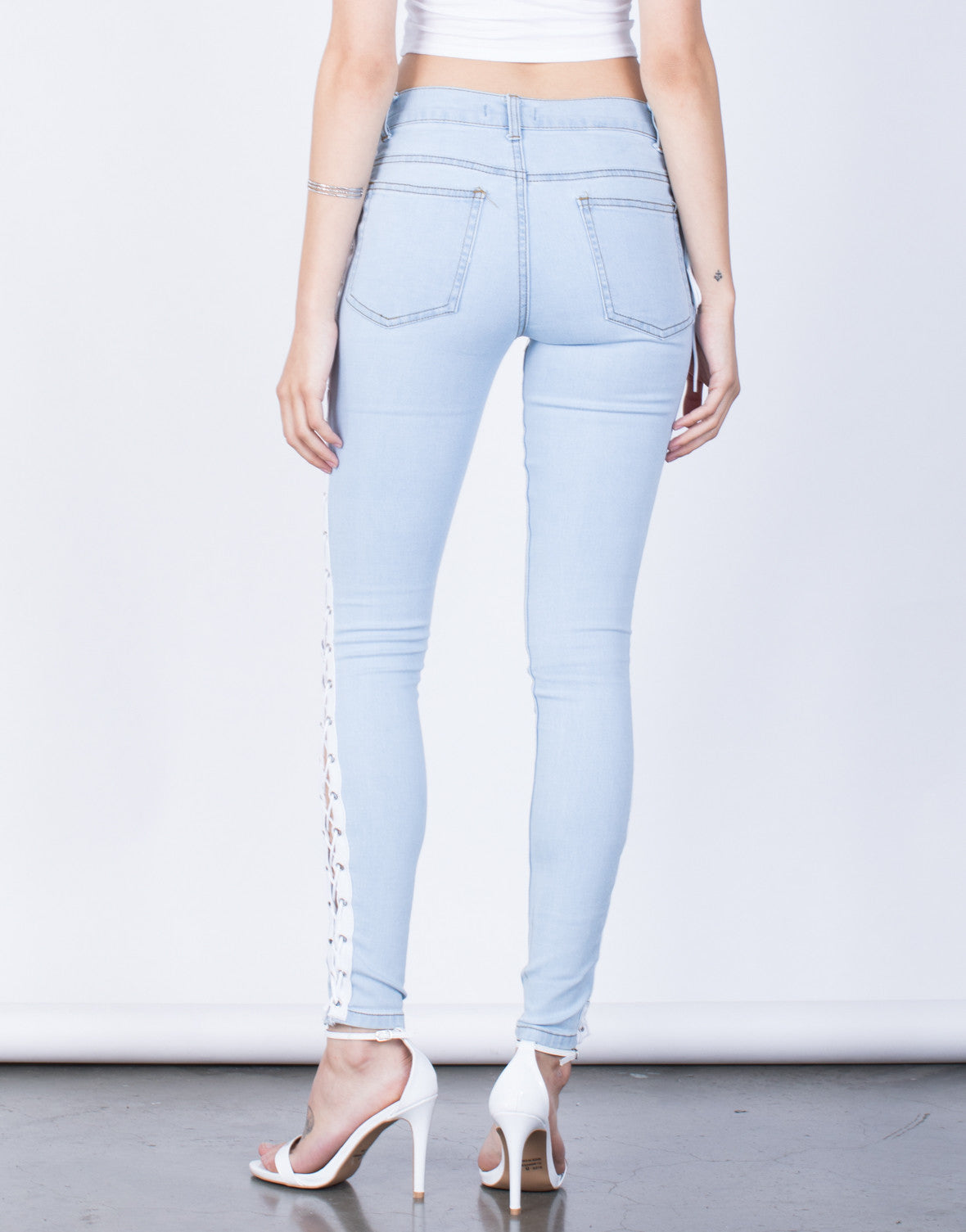 Back View of Tied Together Jeans
