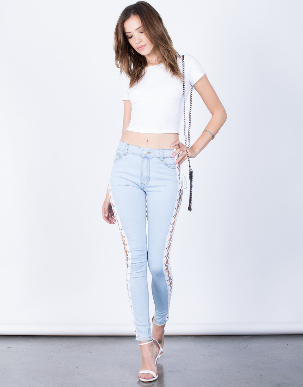 Front View of Tied Together Jeans