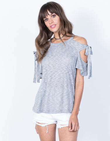Front View of Tied Together Striped Top