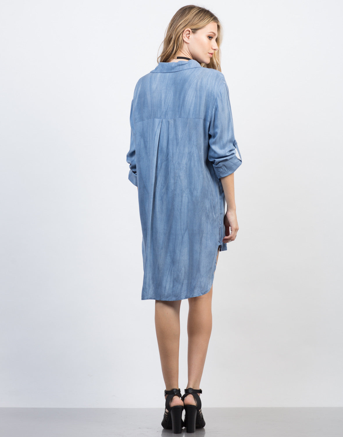 Back View of Tied Up Chambray Shirt Dress