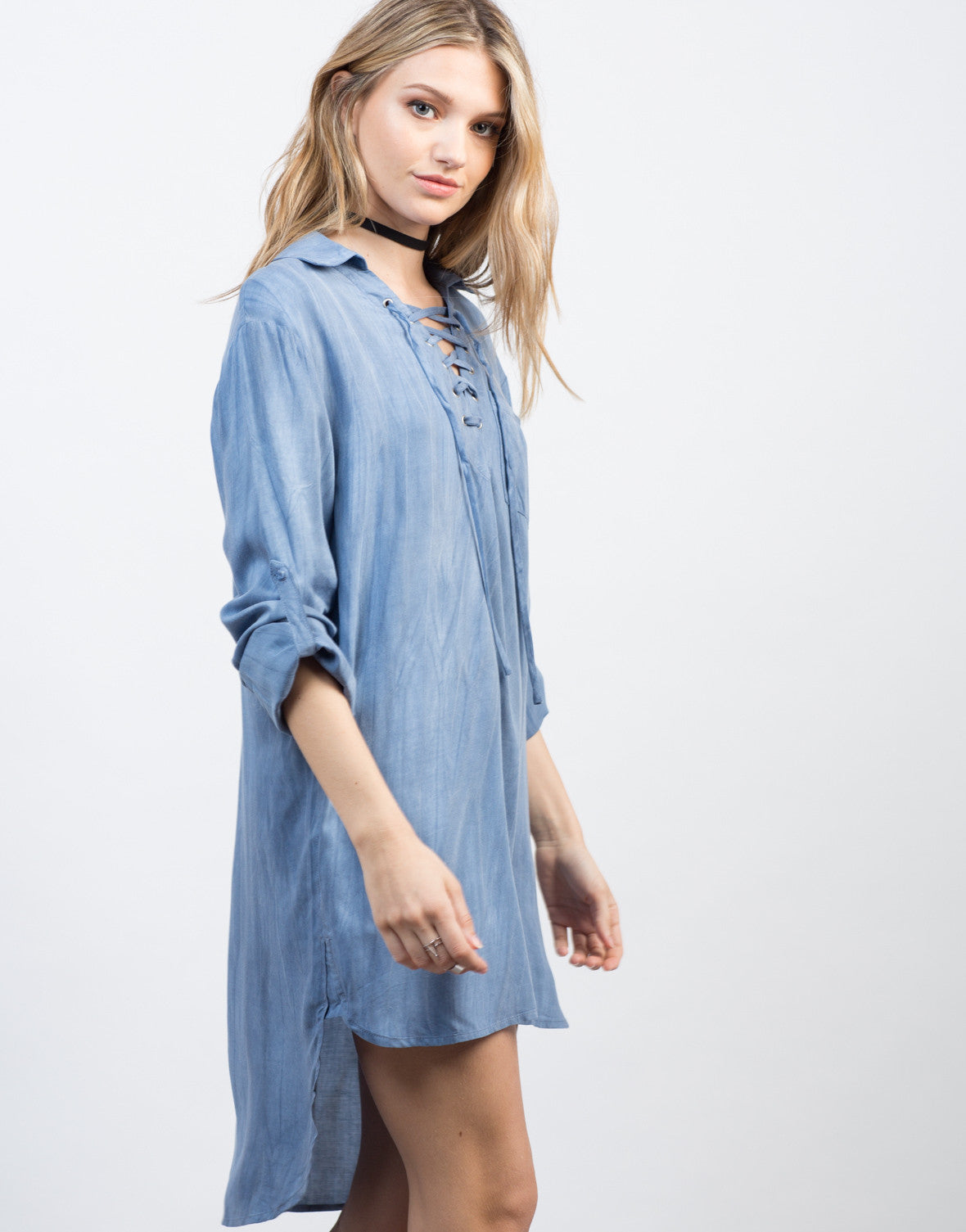 Detail of Tied Up Chambray Shirt Dress