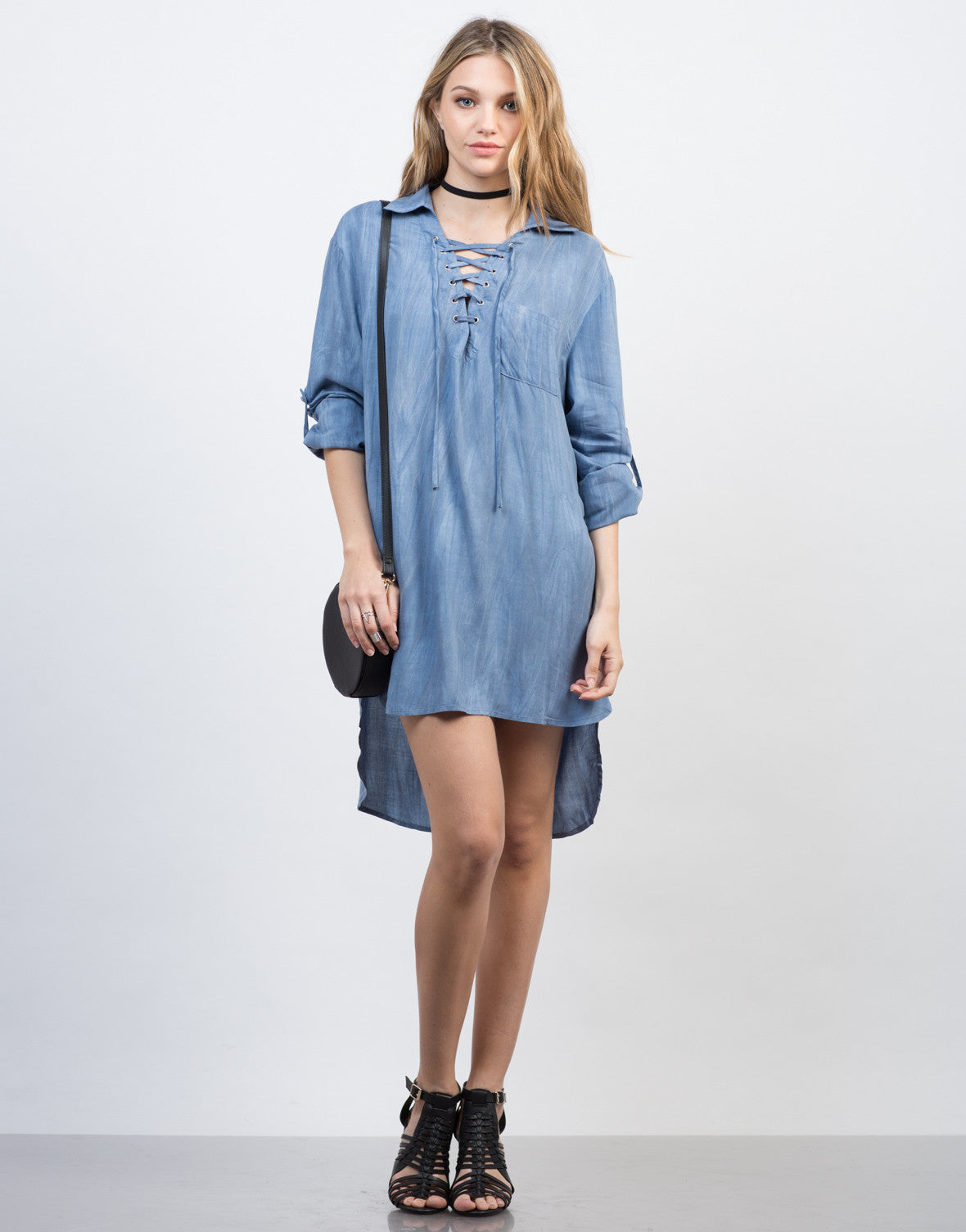 Front View of Tied Up Chambray Shirt Dress