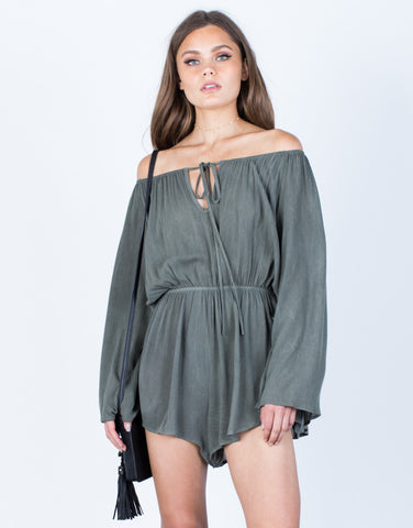 Front View of Tied Up Flowy Romper