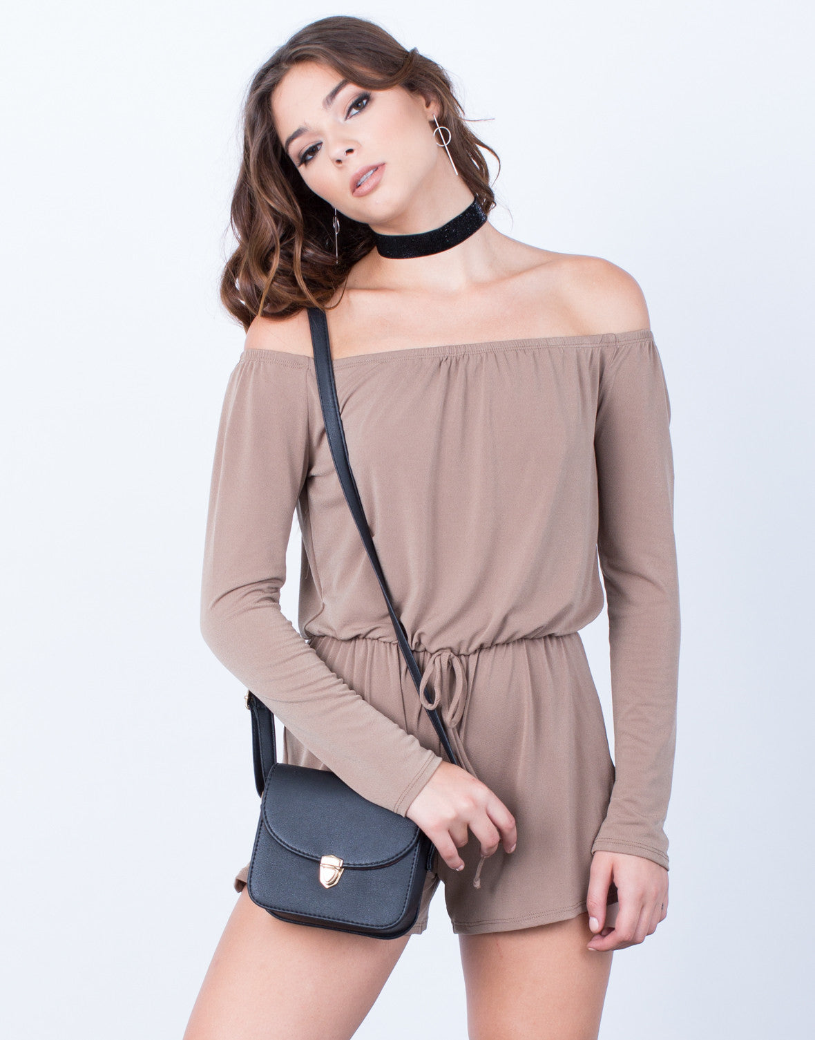 Front View of Tied Up Off-the-Shoulder Romper