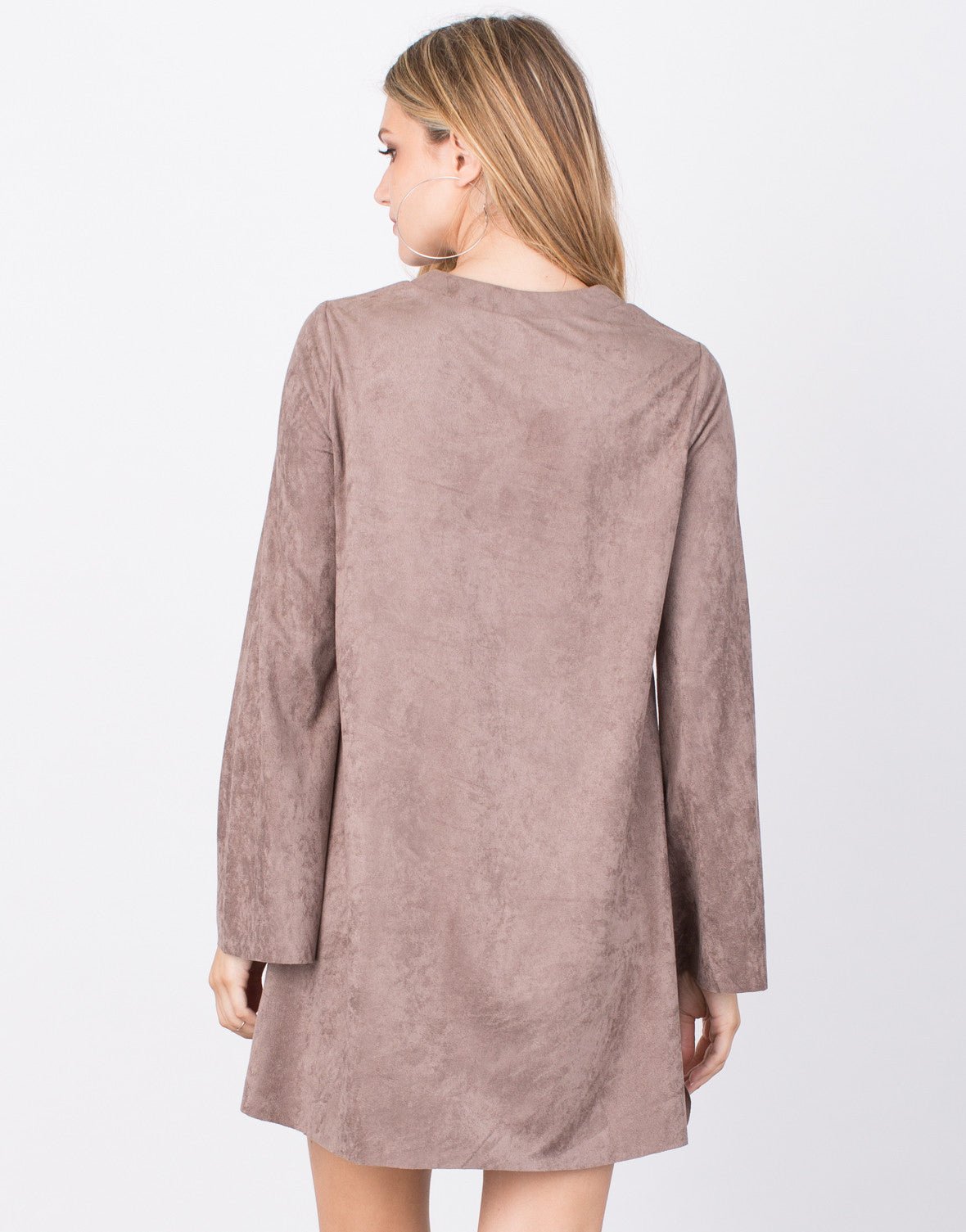 Back View of Tied Up Suede Dress