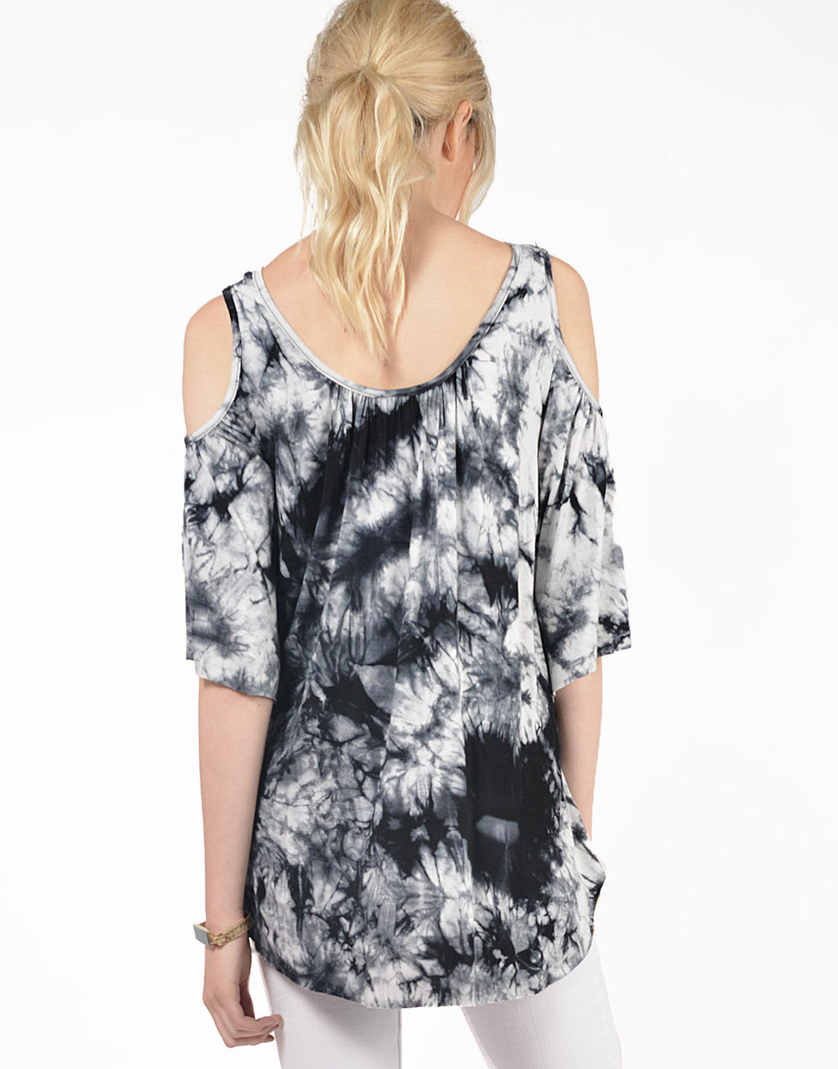 Back View of Tie-Dye Cold Shoulder Top