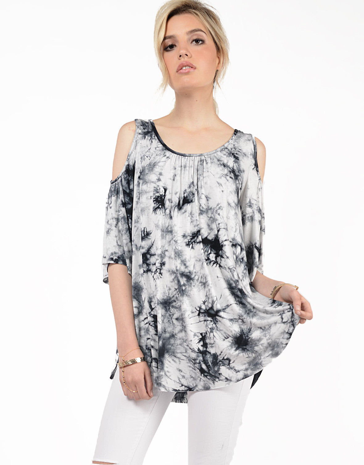 Front View of Tie-Dye Cold Shoulder Top