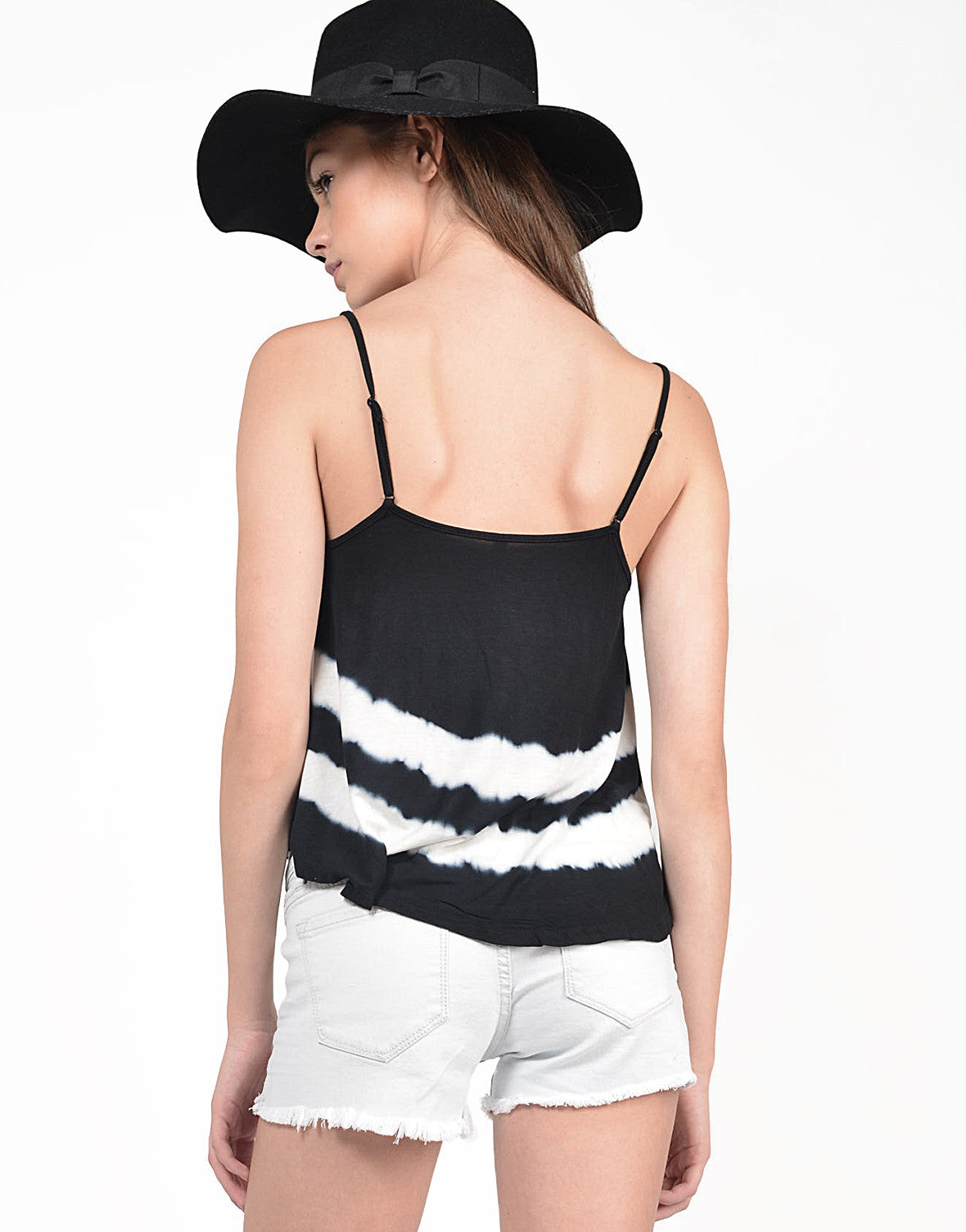 Back View of Tie-Dye Cropped Cami Top