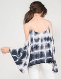 Back View of Tie-Dye Dream Cold Shoulder Top