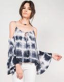 Front View of Tie-Dye Dream Cold Shoulder Top