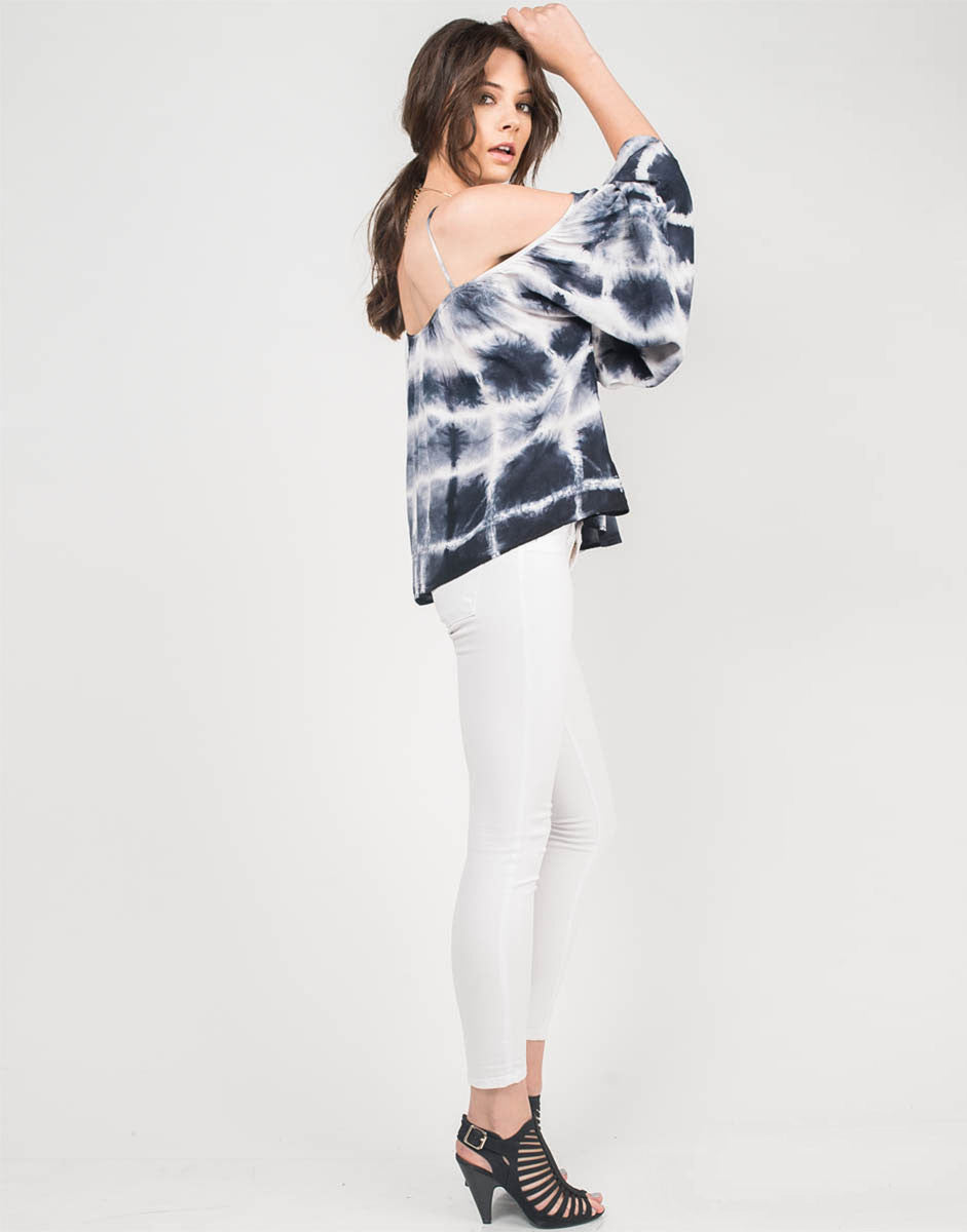 Side View of Tie-Dye Dream Cold Shoulder Top