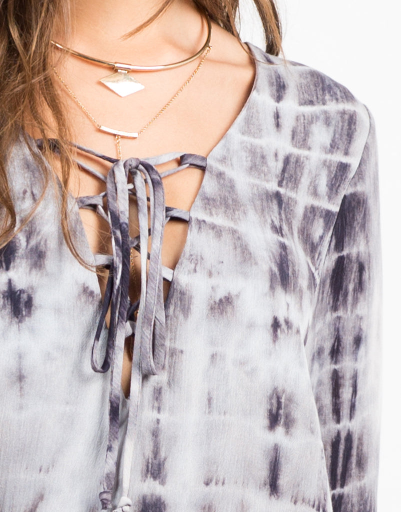 Tie Dye Gauze Lace Up Dress - 2020AVE