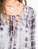 Detail of TIe Dye Gauze Lace Up Dress